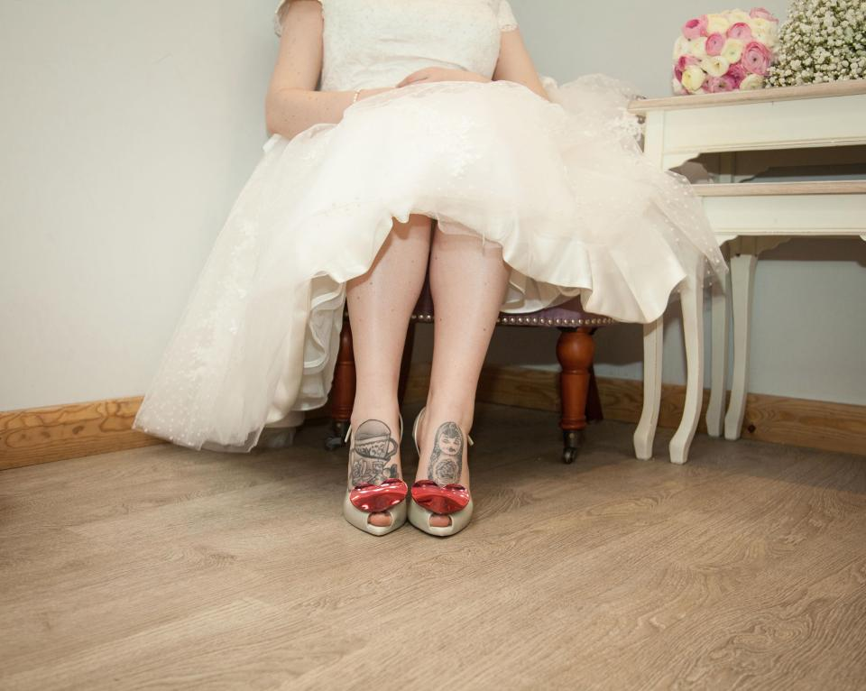 Jenn's Vivienne Westwood shoes, which she made a profit on by selling second-hand on eBay.Source:Jemima DaisyWeddings